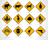 Road Signs yellow Royalty Free Stock Photography