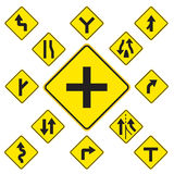 Road Signs. Yellow  on white background Stock Photo