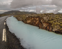 Road and Silica River Iceland Royalty Free Stock Images