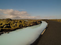 Road and Silica River Iceland Royalty Free Stock Image
