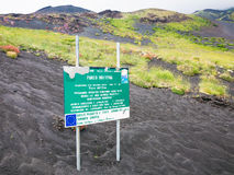 Road Sing about area of Natural Pak on Etna Mount Stock Photo