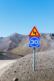 Road sing. Landscape of Iceland Stock Photos