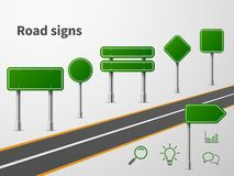 Road sings. Banner traffic street route, blank direction highway city signpost location vector illustration