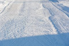 Road for the skier. Traces from skis. Stock Image