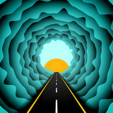 Road in the skies abstract concept. Vector illustrator of asphalt road or highway going into skies to the light and sun between the clouds. Colorful design royalty free illustration