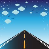 Road, sky and clouds Stock Photography