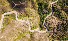 The road and the snake. Beautiful picture off a road with the form of a snake in the ills of São Brás de Alportel in Algarve in South of portugal Royalty Free Stock Image