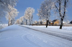 Road in snow Stock Photography