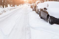 Road in the snow with cars Royalty Free Stock Photo