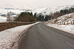 Road through snow covered Yorkshire moors Royalty Free Stock Images