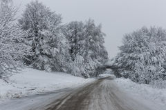 Road Through The Snow. Just a hard for travel road in the winter royalty free stock photos