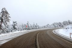 Road and snow. Landscape sky Stock Images