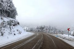 Road and snow. Landscape sky Royalty Free Stock Image