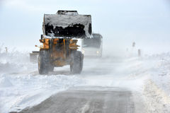 Road in snow storm Royalty Free Stock Photo