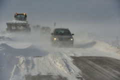 Road in snow storm. Snowstorm, poor visibility, slick roads and lots of traffic Stock Images