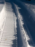 Road  snow  trace Stock Photo