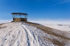 Road with snow in winter season at Olkhon Island stock photos