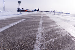 Road in the snowstorm. Feature of road surface in the snowstorm Royalty Free Stock Images