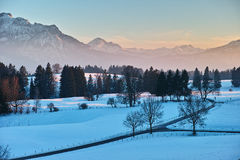 Road in snowy alpine landscape at sunset Royalty Free Stock Photos