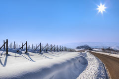 Road through snowy hills. Stock Photo
