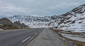 Road  63 with snowy mountain, Norway. Stock Photo