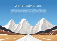Road and snowy mountains landscape. Royalty Free Stock Photos