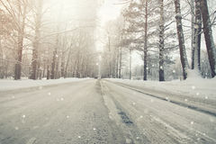 Road in the snowy storm winter Royalty Free Stock Photos
