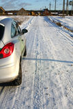 road snowy village Στοκ φωτογραφία με δικαίωμα ελεύθερης χρήσης