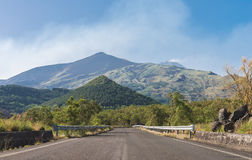 Road on the south side of Mount Etna Stock Images