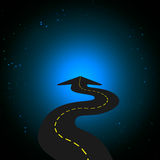 Road into Space. Curving Road arrow into Space Royalty Free Stock Photography