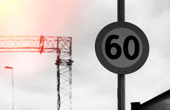 Road speed limit sign with light leak background Royalty Free Stock Photos