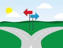 Road Split. Left and right directions Stock Images