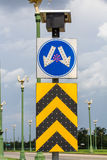 Road split sign with led light and solar cell Royalty Free Stock Images