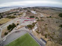 Road and sports infrastructure aerial view, drone view stock images