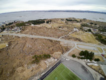 Road and sports infrastructure  aerial view, drone view Stock Image