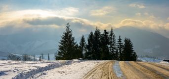 Road through spruce forest in high mountains. Gorgeous cloudscape over the mountain ridge at sunrise Stock Photography