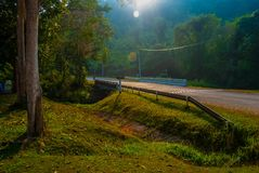 The Road in the Sri Sat Cha Na Lai national park landscape, Sukhothai, Thailand Stock Image