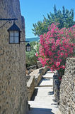 Road-stairs in the territory of the Aragonese castle. With stone walls, lanterns and flowering trees Royalty Free Stock Photography