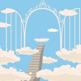 Road, stairs to heaven, open gates of heaven, sky, clouds, Christianity, vector, isolated, cartoon style vector illustration