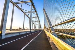 Road on a steel bridge Stock Photos
