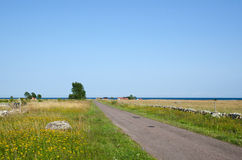 Road with stone walls. Road to the Baltic sea with clear blue sky Stock Photography