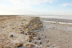 Road of stones on the salt lake of Elton, Russia royalty free stock photos