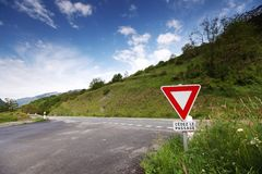 Road stop sign in france Stock Photography