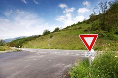 Road stop sign in france Royalty Free Stock Photos