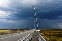 Road before the storm. Day Stock Photo