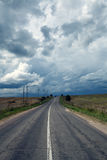 Road and the storm sky Stock Photo