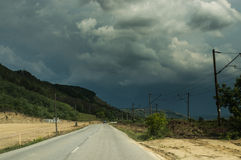 A road and storm sky Royalty Free Stock Photos