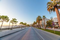 Road and street with palm trees. Empty road and street with palm trees royalty free stock photos