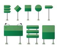 Road street signs. Green illustration Royalty Free Stock Photos