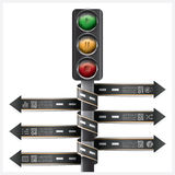 Road And Street With Traffic Light Sign Spiral Arrow tag Infogra Stock Images